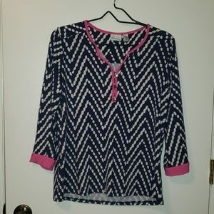 Navy and Pink Dress Top